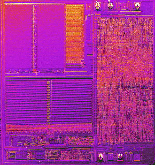 Integrated Circuit Print featuring the photograph Microchip, Sem by Power And Syred