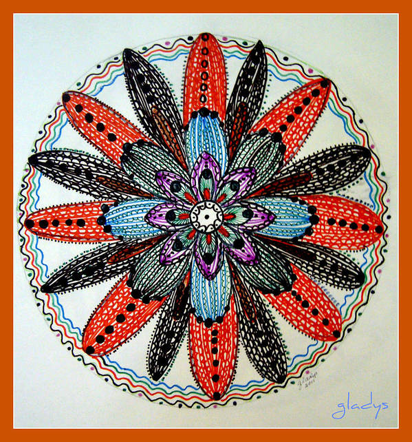 Flower Mandal. Art Print featuring the drawing Red Flower Mandala by Gladys Childers