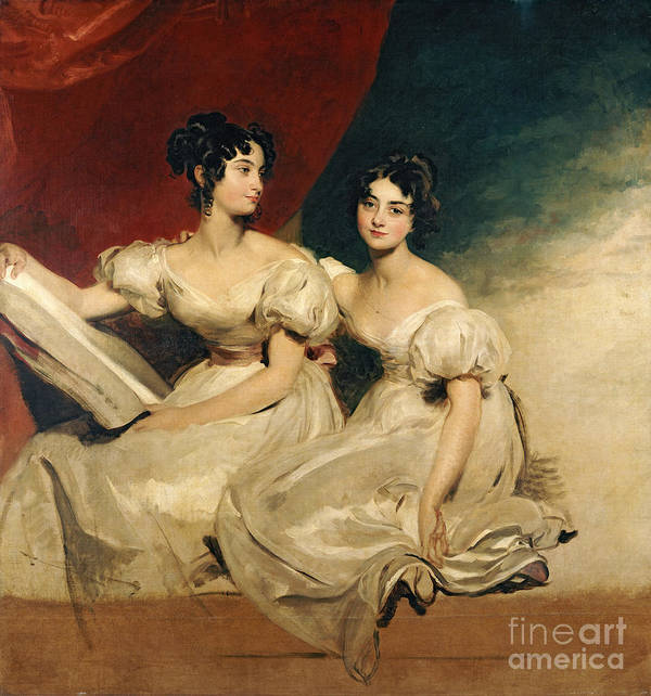 Double Art Print featuring the painting A Double Portrait Of The Fullerton Sisters by Sir Thomas Lawrence