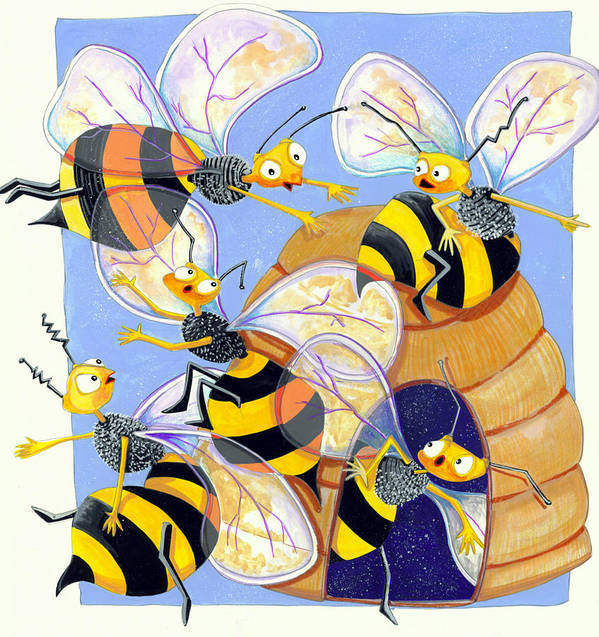 Illustrations Art Print featuring the painting Bees by Ilene Richard
