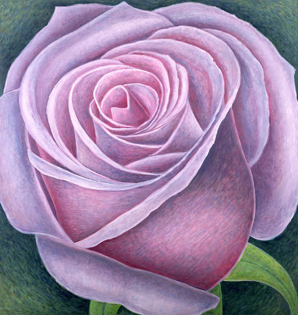 Still Lives Of Flowers Art Print featuring the painting Big Rose by Ruth Addinall