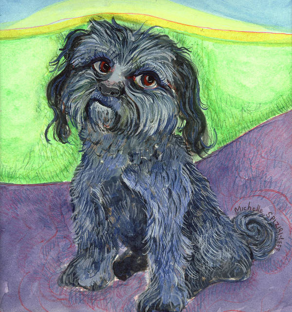 Dog Portraits Art Print featuring the painting Blue Dog by Michelle Spiziri