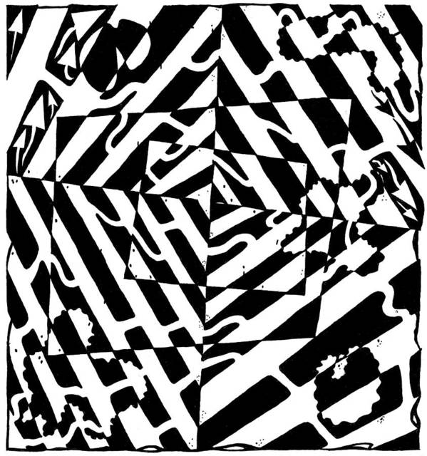 Chaos Art Print featuring the painting Chaos Maze Optical Illusion by Yonatan Frimer Maze Artist