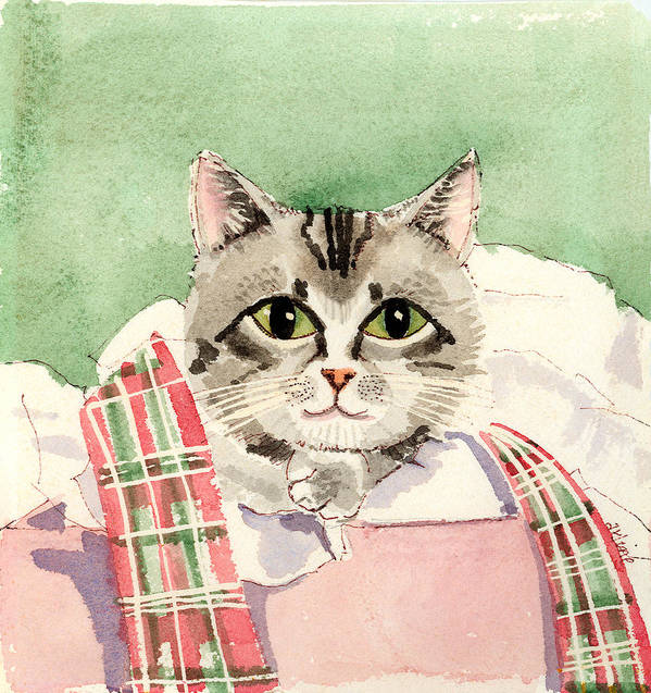 Cat Art Print featuring the painting Christmas Cat by Arline Wagner