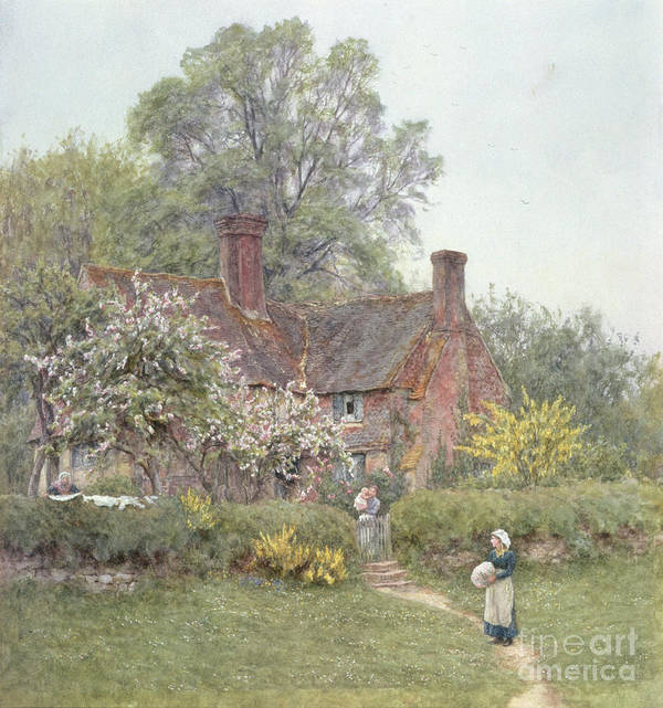 Cottage Print featuring the painting Cottage At Chiddingfold by Helen Allingham