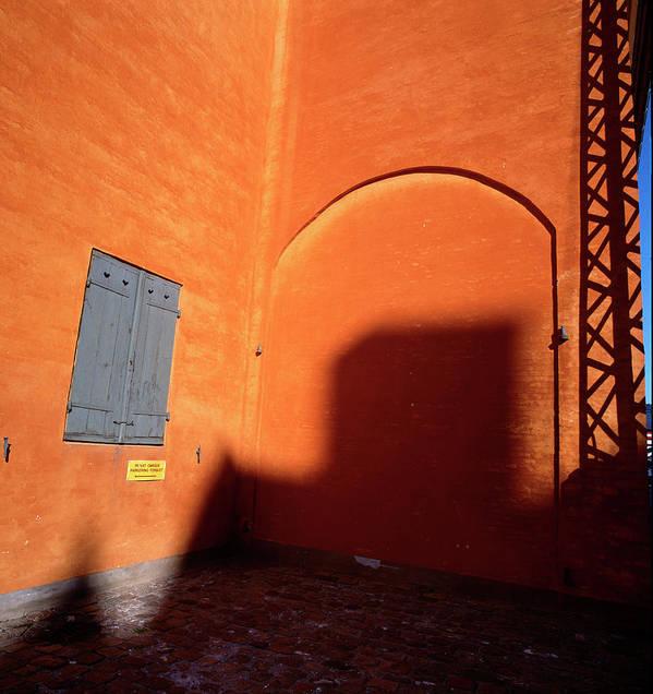 Copenhagen Corner Art Print featuring the photograph Danish Orange And Shadows Copenhagen Denmark by Derek Moore