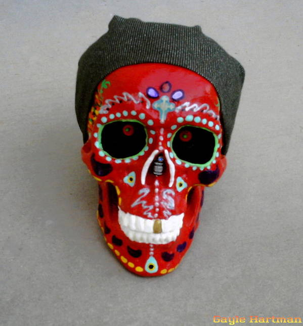 Mexico Art Print featuring the mixed media Day Of The Dead Skulls-biker Dude by Gayle Hartman