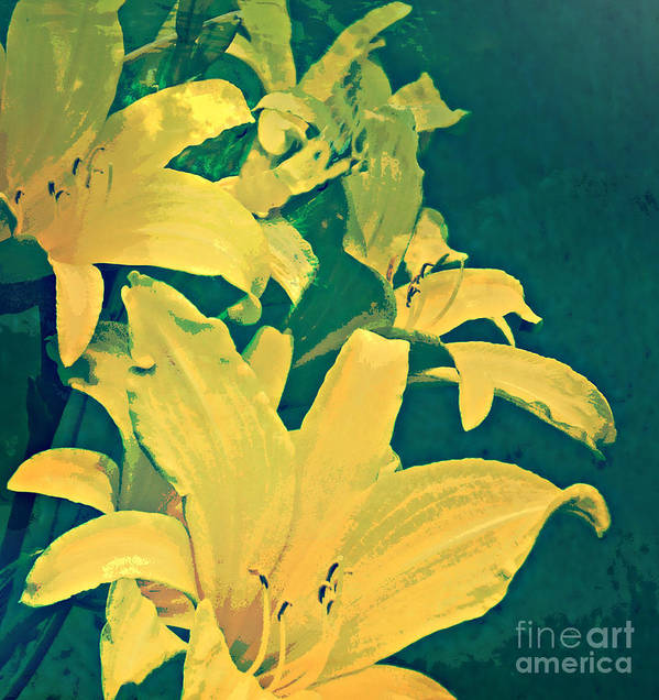 Art Print featuring the painting Green And Gold by Anne Alfaro