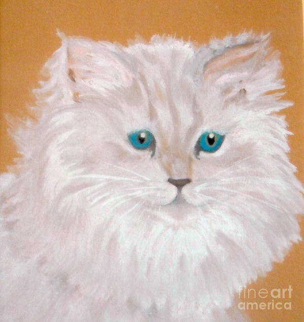 Cat Art Print featuring the painting Kitty White by Nancy Rucker