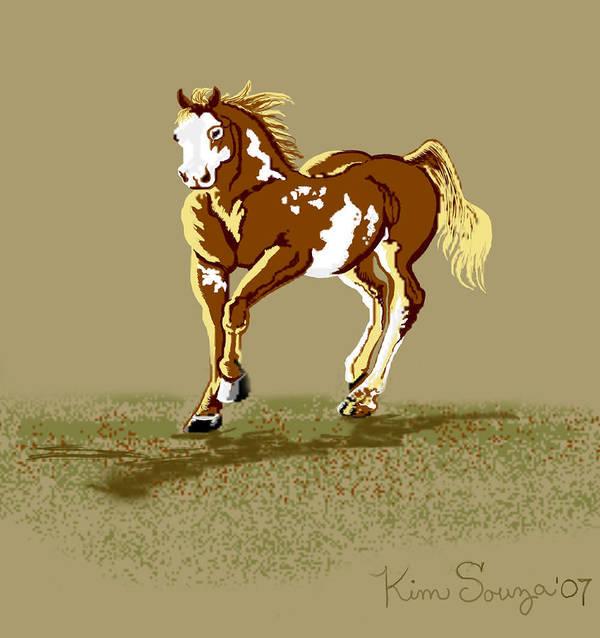 Horses Art Print featuring the digital art Paint Horse by Kim Souza
