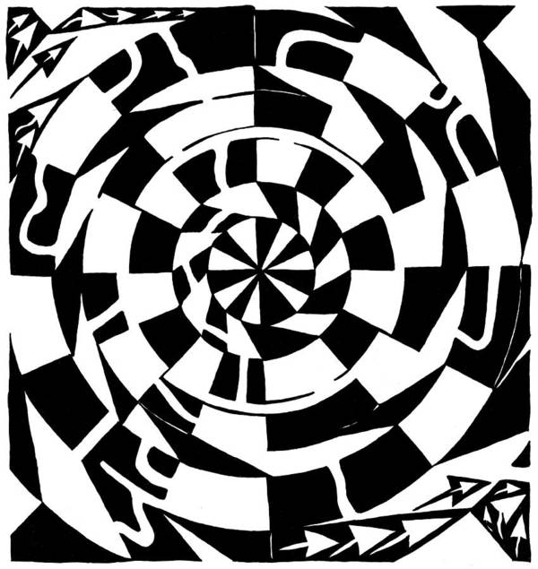 Spinning Art Print featuring the drawing Spinning Tunnel Maze by Yonatan Frimer Maze Artist