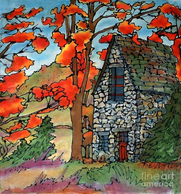 Fall Art Print featuring the painting Stone Cottage Silk Painting by Linda Marcille