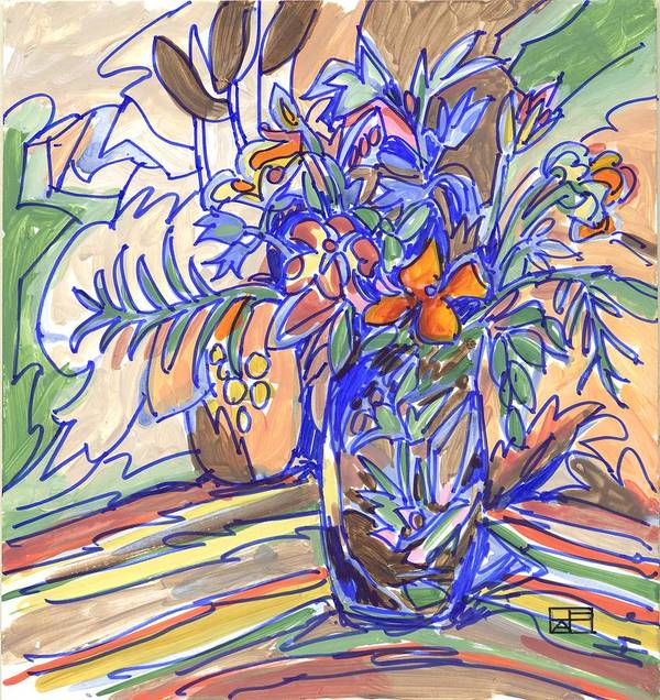 Still Life Art Print featuring the painting Summer Bouquet by Helen Pisarek