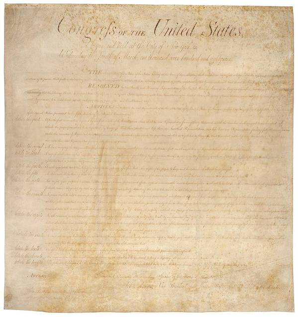 History Art Print featuring the photograph The Bill Of Rights. The First Ten by Everett