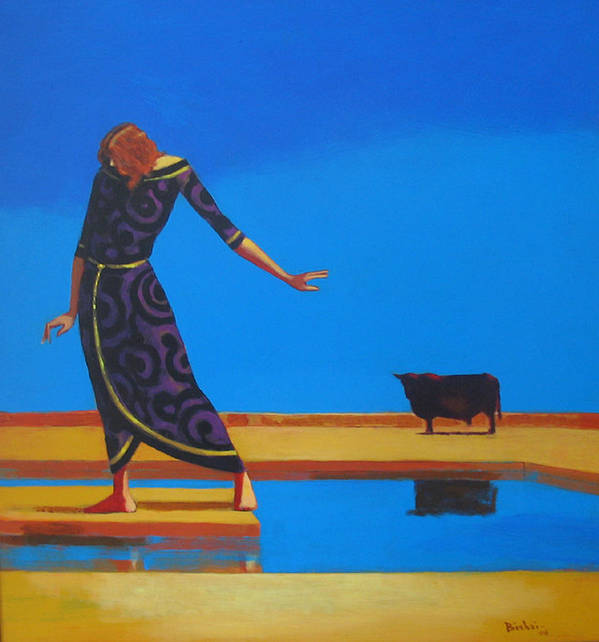 Figure Art Print featuring the painting The Goddess And The Bull by Ihab Bishai