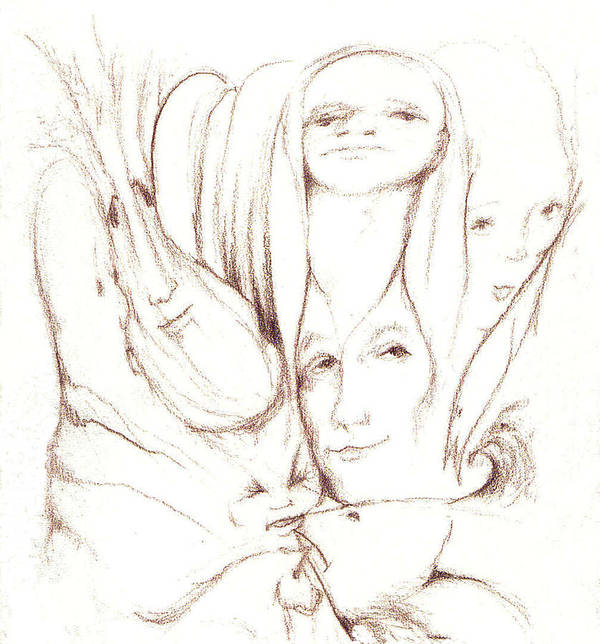 Faces Art Print featuring the drawing We Are Watching by Stephanie H Johnson