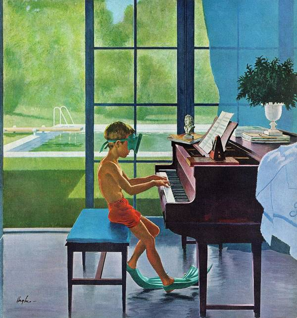 Boy Art Print featuring the drawing Poolside Piano Practice by George Hughes