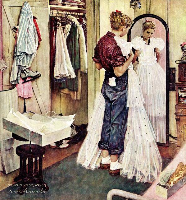 Dresses Art Print featuring the drawing Prom Dress by Norman Rockwell