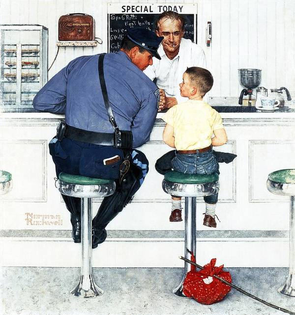Boy Art Print featuring the drawing Runaway by Norman Rockwell