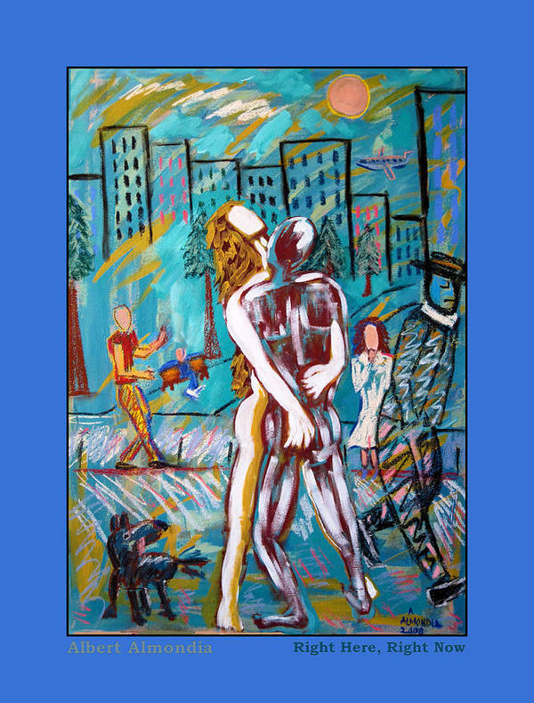 Mixed Media Art Print featuring the painting Right Here Right Now by Albert Almondia