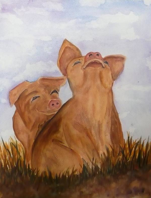 Pigs Art Print featuring the painting Amused Pigs by Deva Claridge
