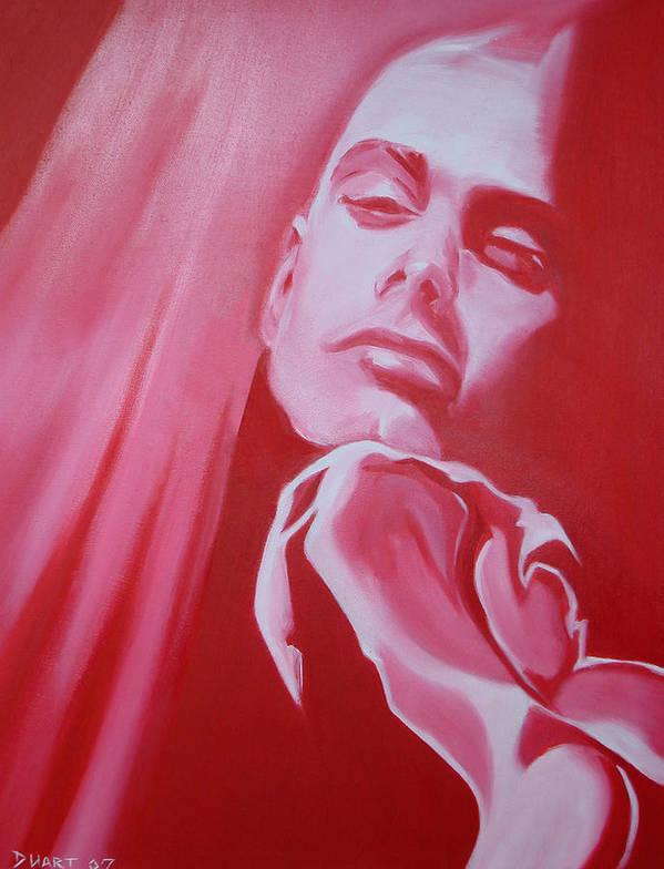 Erotic Male Portrait Abstract Red Art Print featuring the painting Fantasy by Davinia Hart