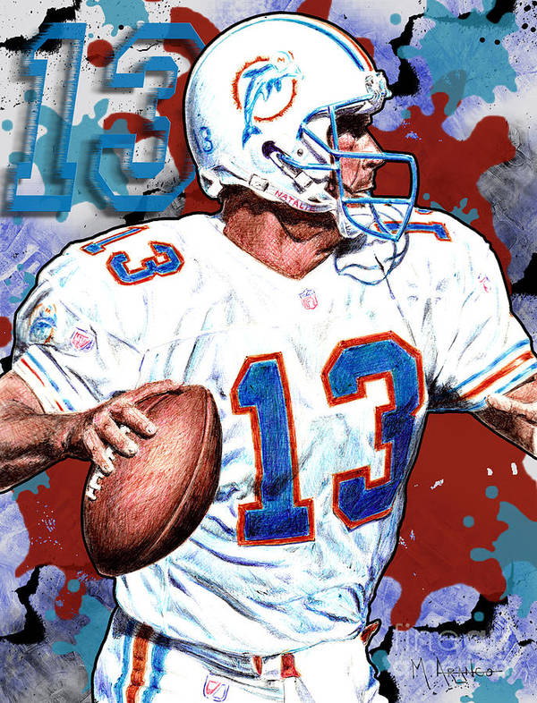 Dan Marino Art Print featuring the digital art First And Ten by Maria Arango
