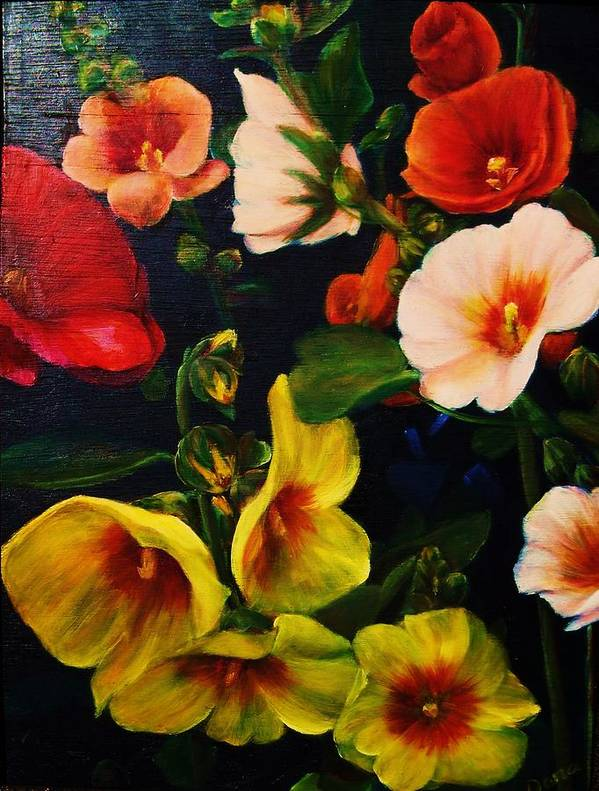 Flowers Art Print featuring the painting Hollyhocks by Dana Redfern