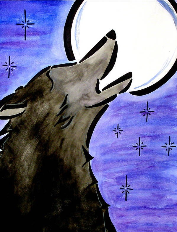 Wolf Art Print featuring the painting Homecoming by Meilena Hauslendale