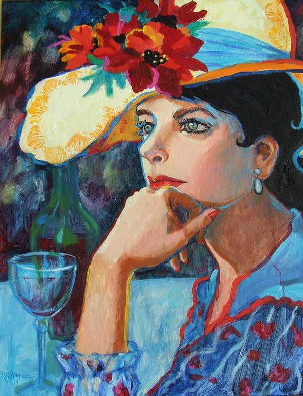Pretty Lady Art Print featuring the painting La Chapeau by Dianna Willman