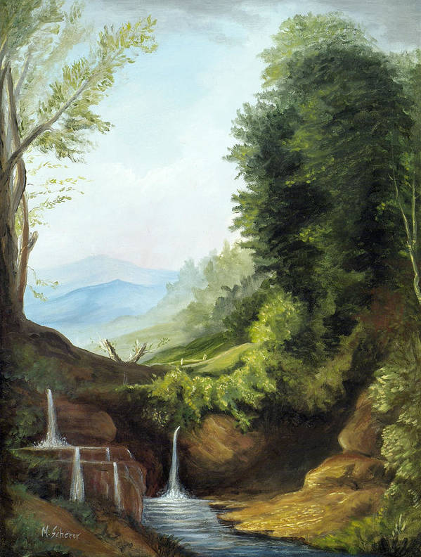 Landscape Art Print featuring the painting Merlin's Pool by Michael Scherer