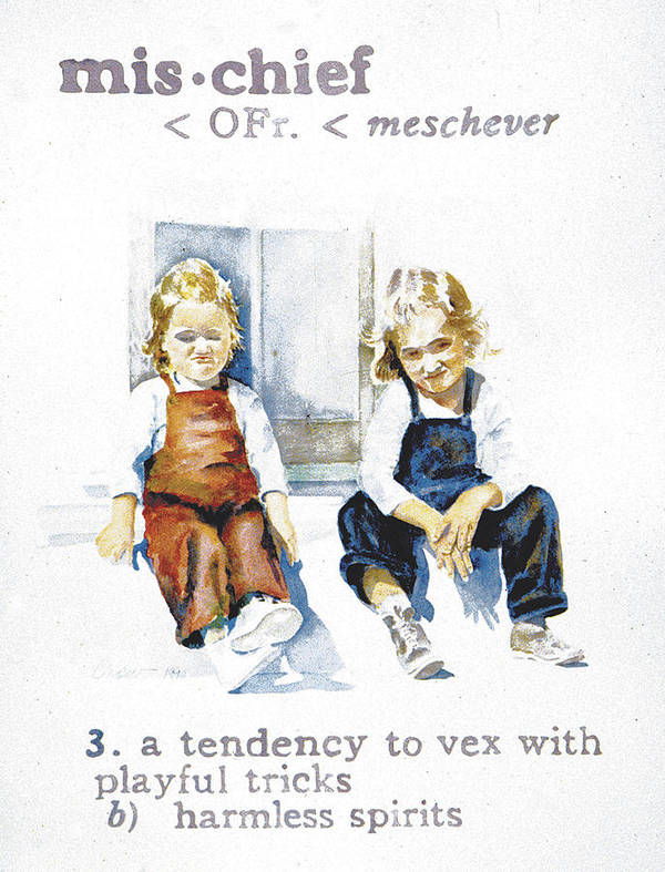 Children Art Print featuring the painting Mischief by Janice Crow