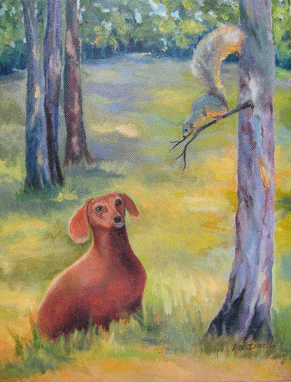 Animal Art Print featuring the painting Molly And The Squirrel by Vicki Brevell