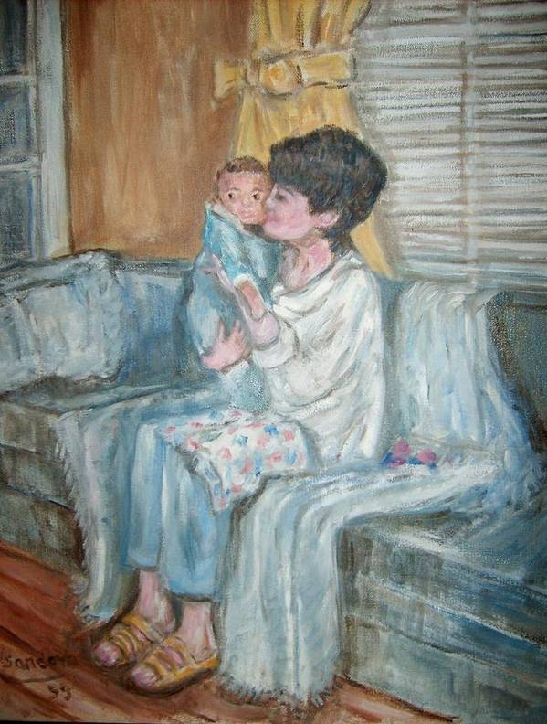 People Couch Window Child Portrait Art Print featuring the painting Mother And Child R by Joseph Sandora Jr