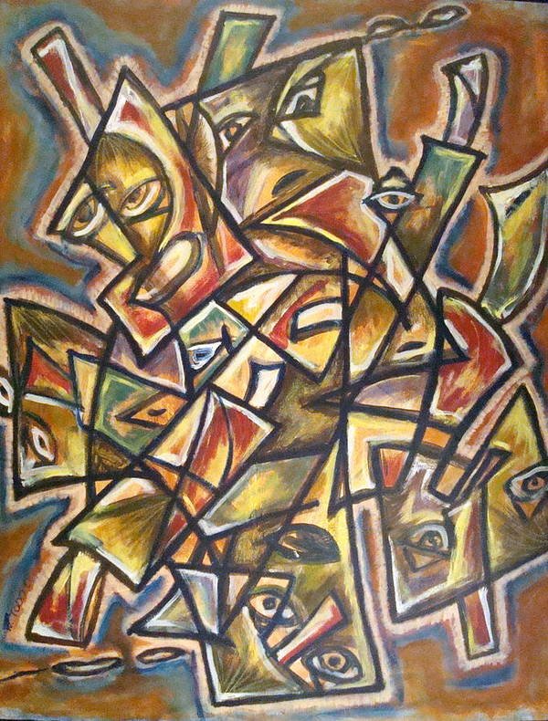 Abstract Faces Art Print featuring the painting Paralleled Gravity by W Todd Durrance
