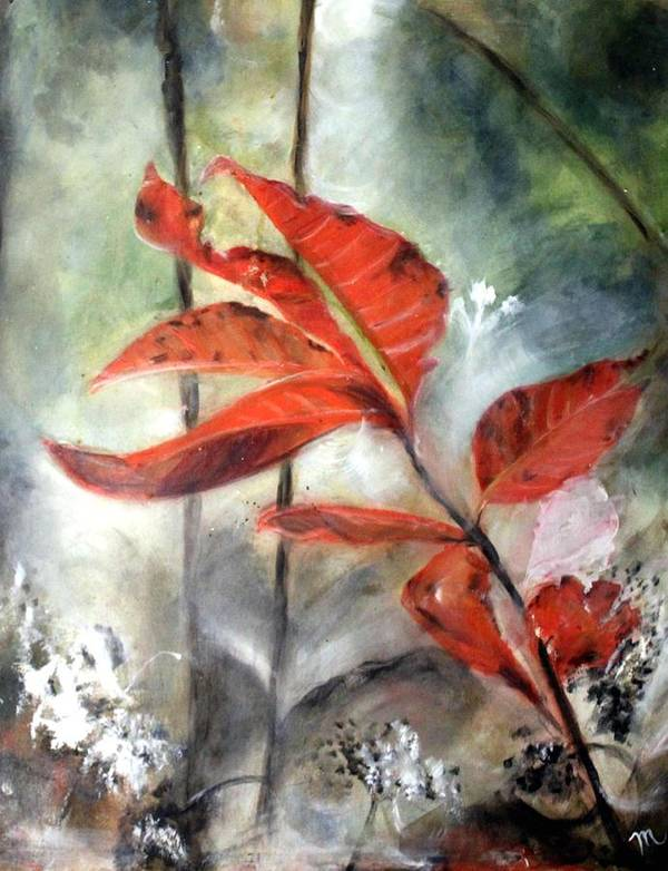 Red Leaf Art Print featuring the painting Red Leaves In Morning Mist by Michela Akers