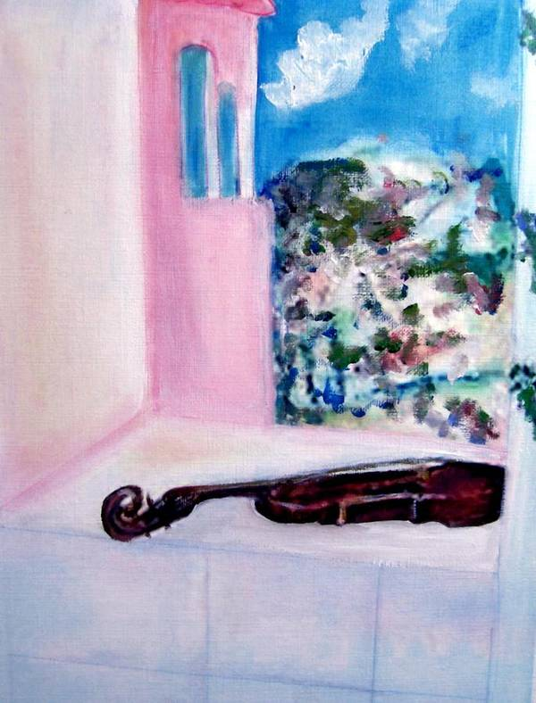 Violin Art Print featuring the painting The Violin by Michela Akers