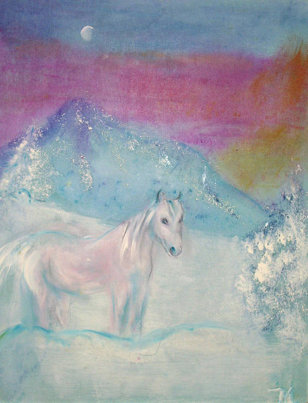 Landscape Art Print featuring the painting Young Horse On Snowy Mountain by Michela Akers