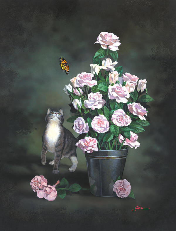 #cat Art Print featuring the painting Playing Among The Roses by Harold Shull