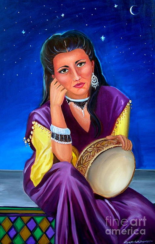Gypsy Art Print featuring the painting The Gypsy by Lora Duguay