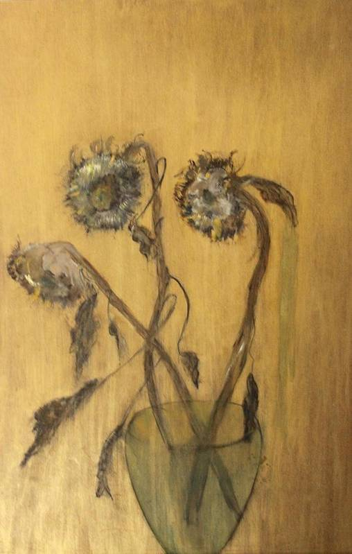 Floral Art Print featuring the painting Sunflowers On Gold by Michela Akers