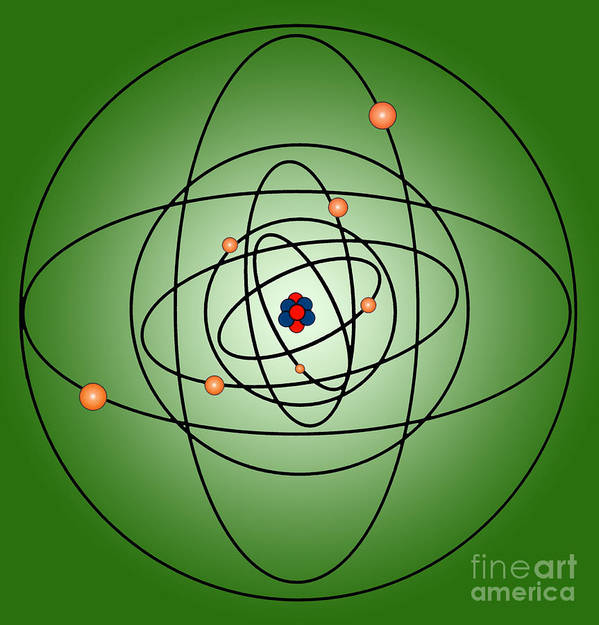 Science Print featuring the photograph Atomic Structure Model by Science Source