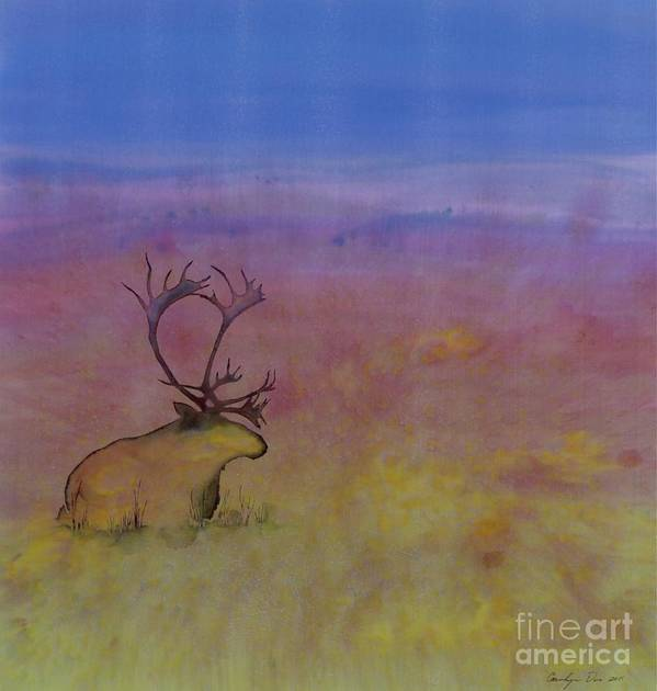 Caribou Print featuring the tapestry - textile Caribou On The Tundra by Carolyn Doe