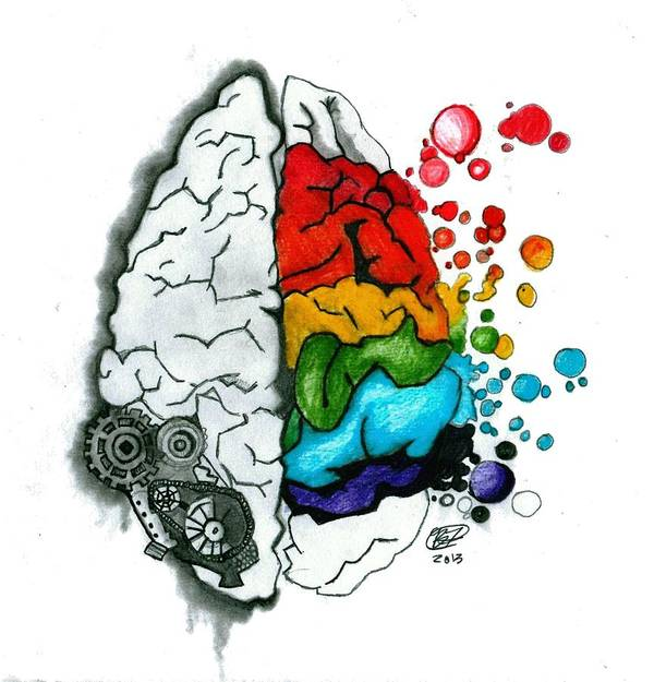 Creative Art Print Featuring The Drawing Brain By Becca Fieken