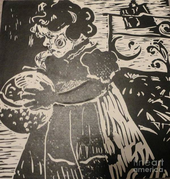 Lino Print featuring the painting Girl's Play by PainterArtist FINs husband Maestro