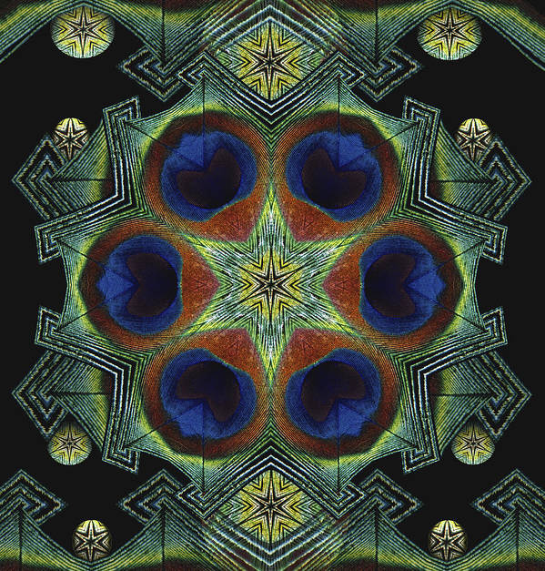 Mandala Art Print featuring the digital art Mandala Peacock by Nancy Griswold