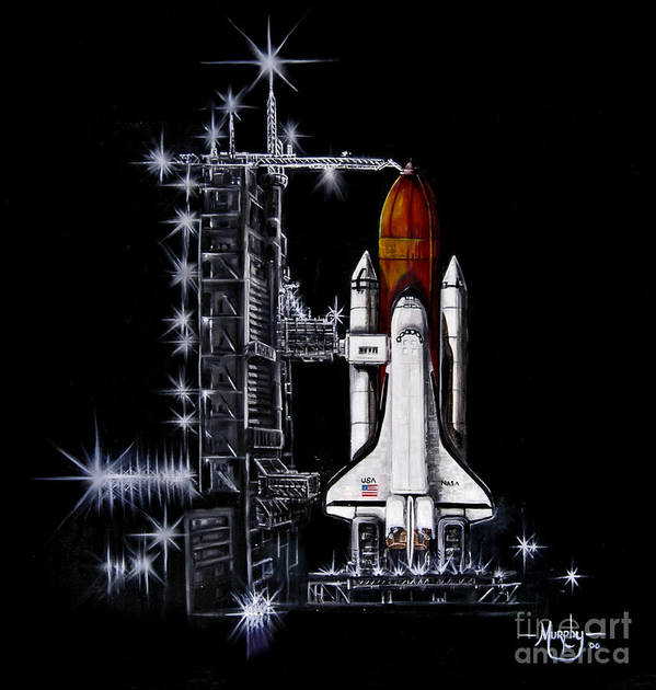 Shuttle Art Print featuring the painting The Night Before by Murphy Elliott