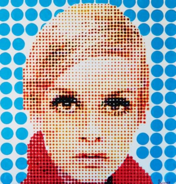 Twiggy Art Print featuring the painting Twiggy Blue Dot by Grant Swinney