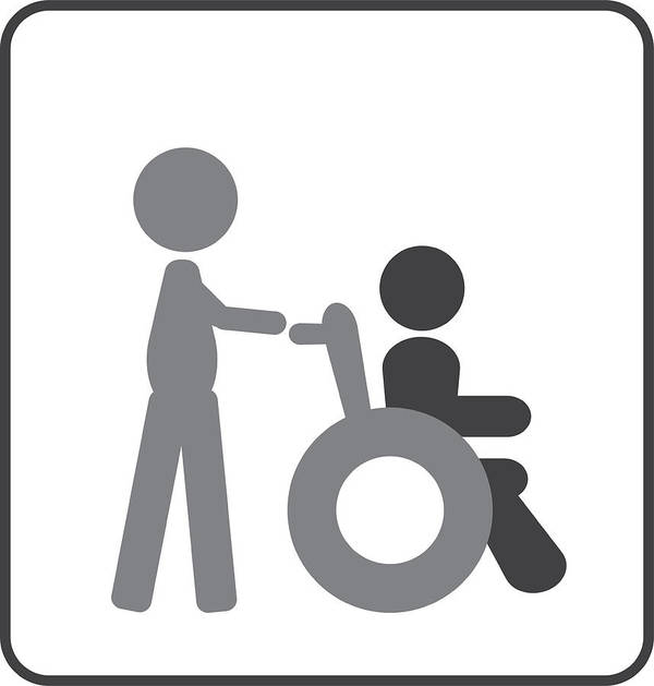 Wheelchair And Caring Person Or Invalid Disabled Icon Art Print