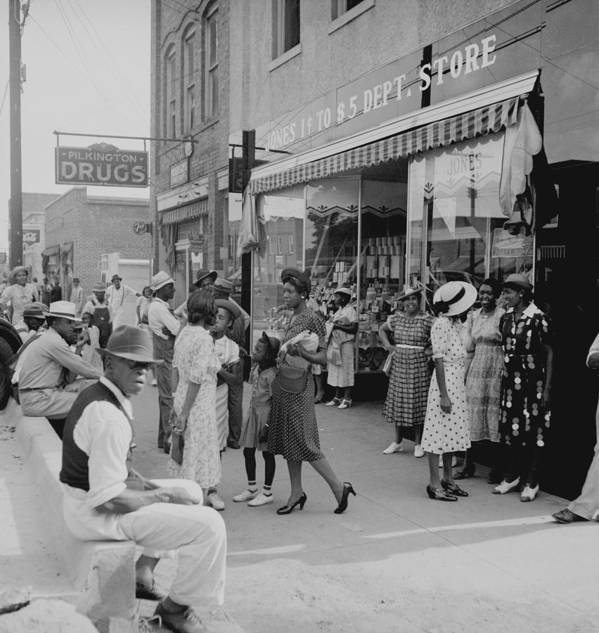 History Art Print featuring the photograph African Americans Shopping And Visiting by Everett